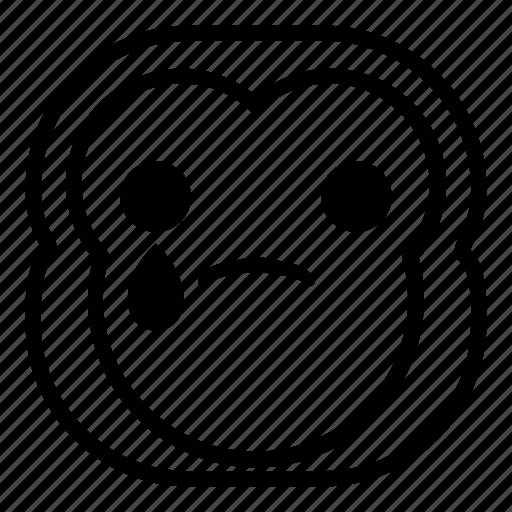 chimp, chimpanse, drop, monkey, sad, tear icon