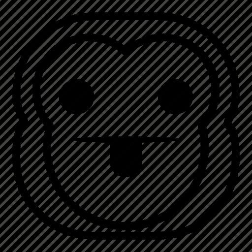 chimp, chimpanse, monkey, taunt, tongue icon