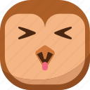 bird, emoji, emoticon, happy, owl, smiley, tongue icon