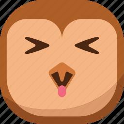 bird, emoji, emoticon, happy, owl, smiley, tongue icon