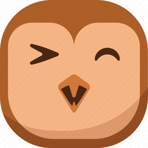 bird, emoji, emoticon, happy, owl, smiley icon