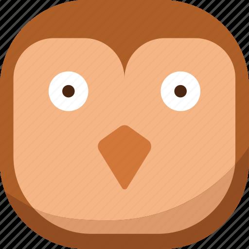 bird, emoji, emoticon, owl, smiley, surprised, wondering icon