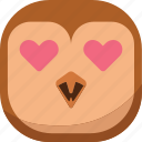 bird, emoji, emoticon, love, lovely, owl, smiley icon
