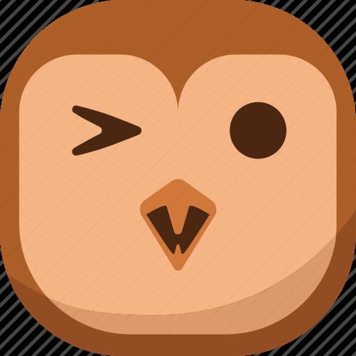 bird, emoji, emoticon, happy, owl, smiley icon