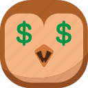 bird, dollar, emoji, emoticon, money, owl, smiley icon