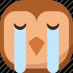 bird, cry, emoji, emoticon, owl, smiley, tears icon