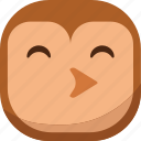 bird, emoji, emoticon, owl, smiley, whistle icon