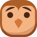 bird, emoji, emoticon, faceless, flat face, owl, smiley icon