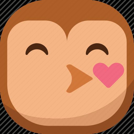bird, emoji, emoticon, kiss, love, owl, smiley icon