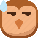 bird, drop, emoji, emoticon, owl, smiley, surprised icon