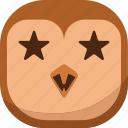 bird, emoji, emoticon, favorite, owl, smiley, stars icon