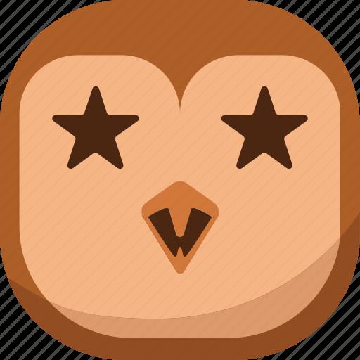 bird, emoji, emoticon, favorite, owl, smiley, stars icon