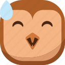 bird, drop, emoji, emoticon, laugh, owl, smiley icon