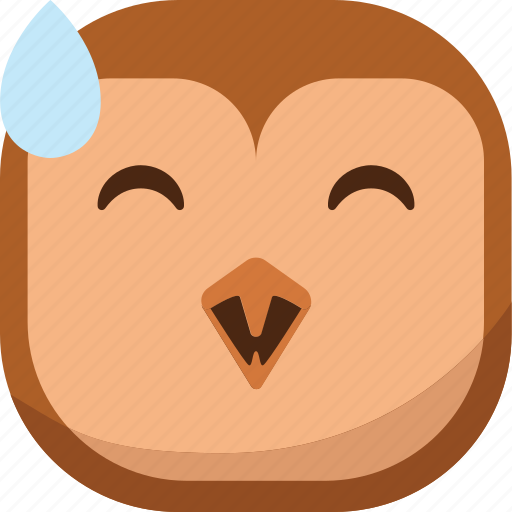bird, drop, emoji, emoticon, laugh, owl, smiley icon