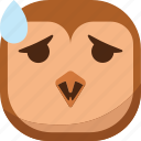 bird, emoji, emoticon, owl, smiley, surprised, wondering icon