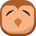 bird, emoji, emoticon, owl, sad, smiley icon