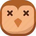 bird, dead, die, emoji, emoticon, owl, smiley icon