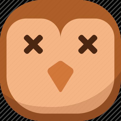 bird, dead, die, emoji, emoticon, owl, smiley icon