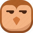 bird, disappointed, emoji, emoticon, owl, smiley, smirk icon