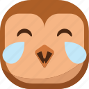 bird, emoji, emoticon, laugh, lol, owl, smiley icon