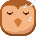 bird, emoji, emoticon, owl, sleep, sleepy, smiley icon