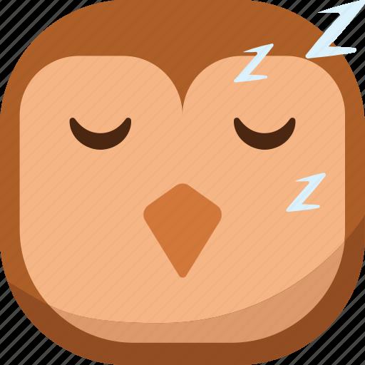 bird, emoji, emoticon, owl, sleep, sleepy, smiley icon