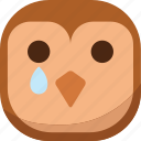 bird, drop, emoji, emoticon, owl, sad, smiley icon