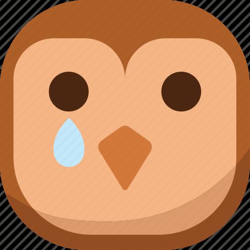 bird, drop, emoji, emoticon, owl, sad, smiley icon
