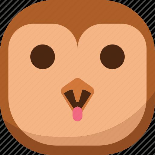 bird, emoji, emoticon, laugh, owl, smiley, tongue icon