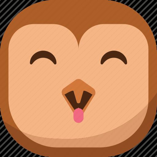 bird, emoji, emoticon, happy, laugh, owl, smiley icon