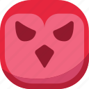 angry, bird, emoji, emoticon, evil, owl, smiley icon