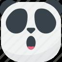 asian, emoji, emoticon, panda, smiley, surprised, wow icon