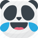 asian, drops, emoji, emoticon, laugh, panda, smiley icon