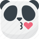 asian, emoji, emoticon, kiss, love, panda, smiley icon