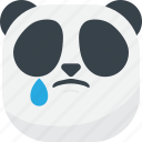 asian, emoji, emoticon, panda, sad, smiley, tear icon