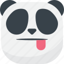 asian, emoji, emoticon, panda, smiley, taunt, tongue icon