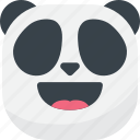 asian, emoji, emoticon, laugh, panda, smiley icon