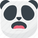 asian, emoji, emoticon, panda, smiley, surprised, wondering icon