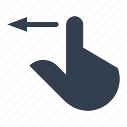 arrow, backward, direction, finger, gestures, hands, left, move, previous, screen, touch icon