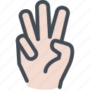 counting, fingers, hand, three, three fingers icon