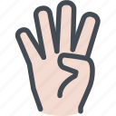 counting, digits, enumerate, finger, four, four fingers, hand icon