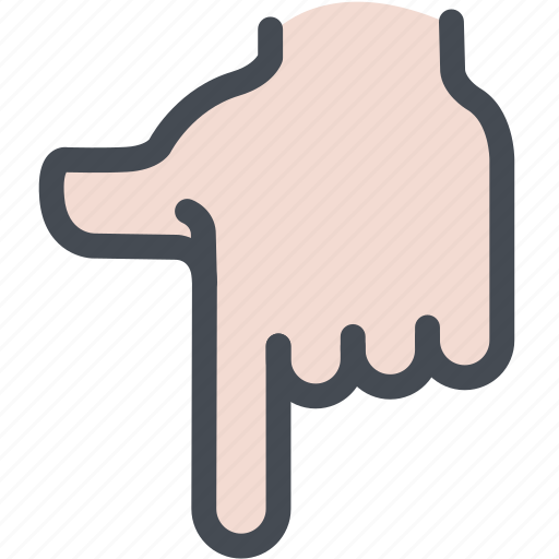 direction, down, hand, indicator, point icon