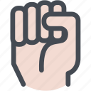 closed, fist, hand, knock, smash icon