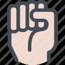 closed, fist, hand, knock, smash icon