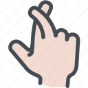 crossed fingers, fingers crossed, good luck, hand gesture, hand symbol, lie icon