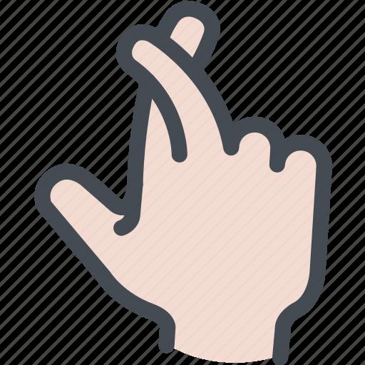 crossed fingers, fingers crossed, good luck, hand gesture, hand symbol, lie icon