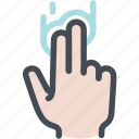 double, hand, screen, touch, two finger tap icon
