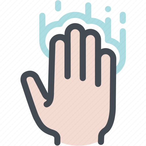 four fingers, hand, screen, tap, touch, touch screen icon