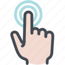 click, finger double tap, hand, press, screen, touch icon