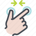 arrow, finger pinch, hand, pinch, screen, touch icon